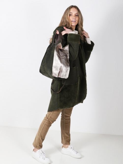 Abrigo doble faz bolsillos mujer