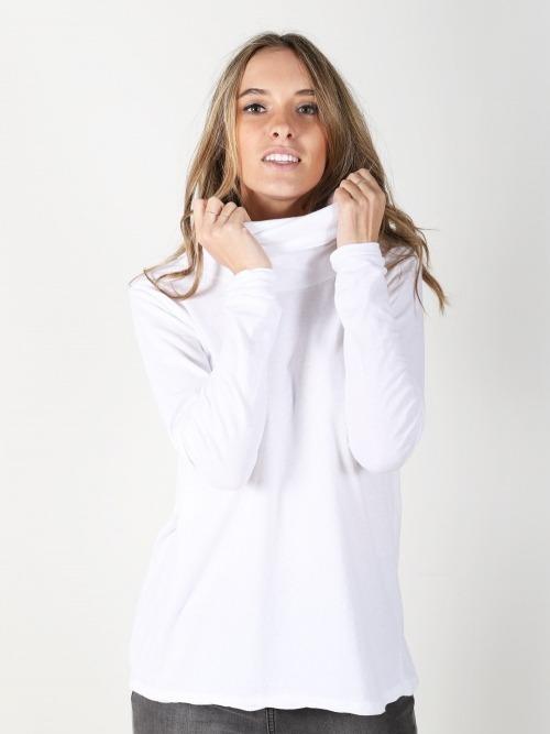 Camiseta algodon cuello subido mujer