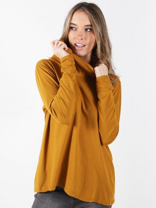 Camiseta algodon cuello alto mujer