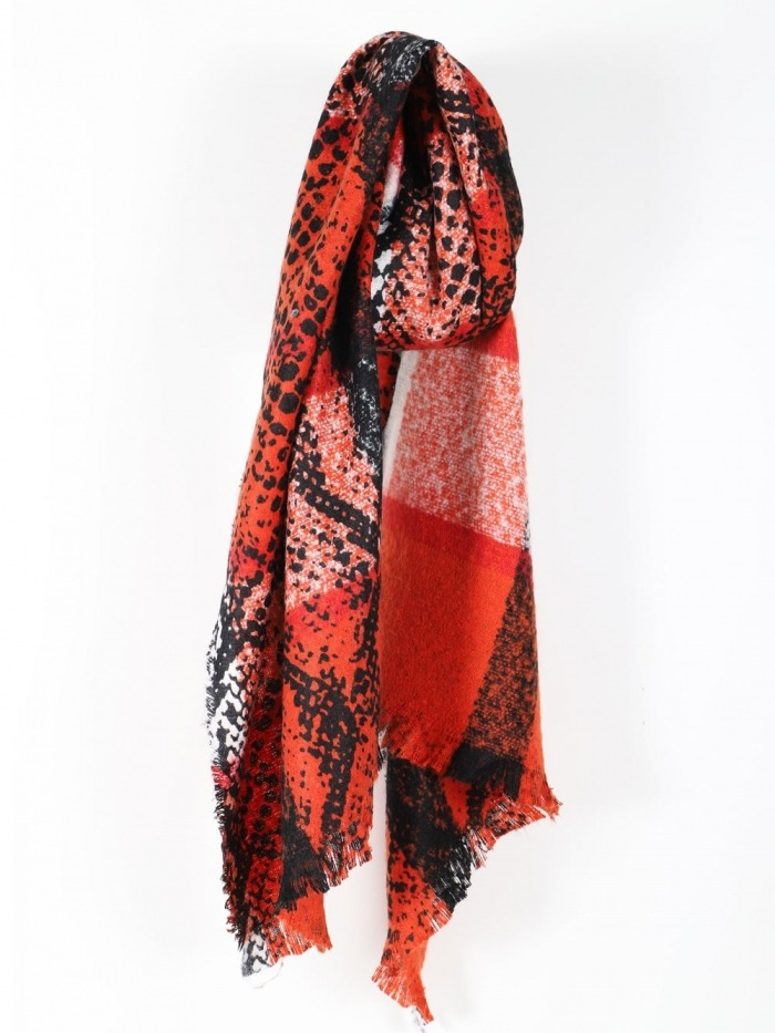 Woman animal print check scarf Orange