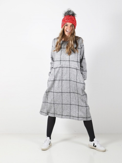 Vestido punto tweed cuadros mujer