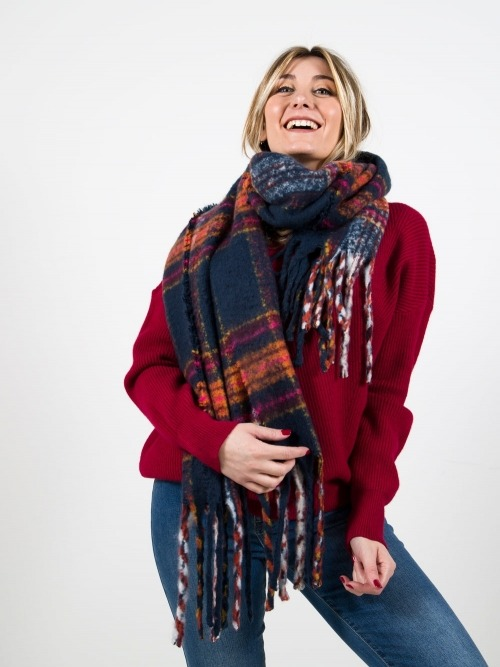 Women soft check scarf Blue Navy