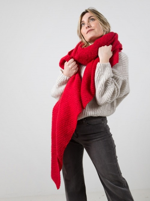 Women oversize scarf Red