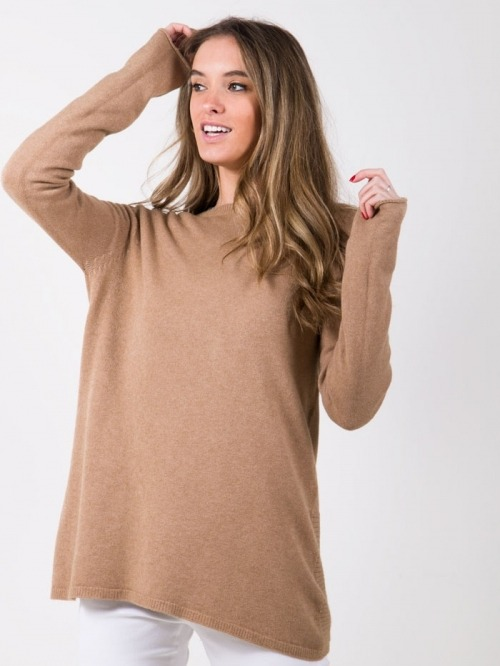 Woman soft knit oversized sweater Camel