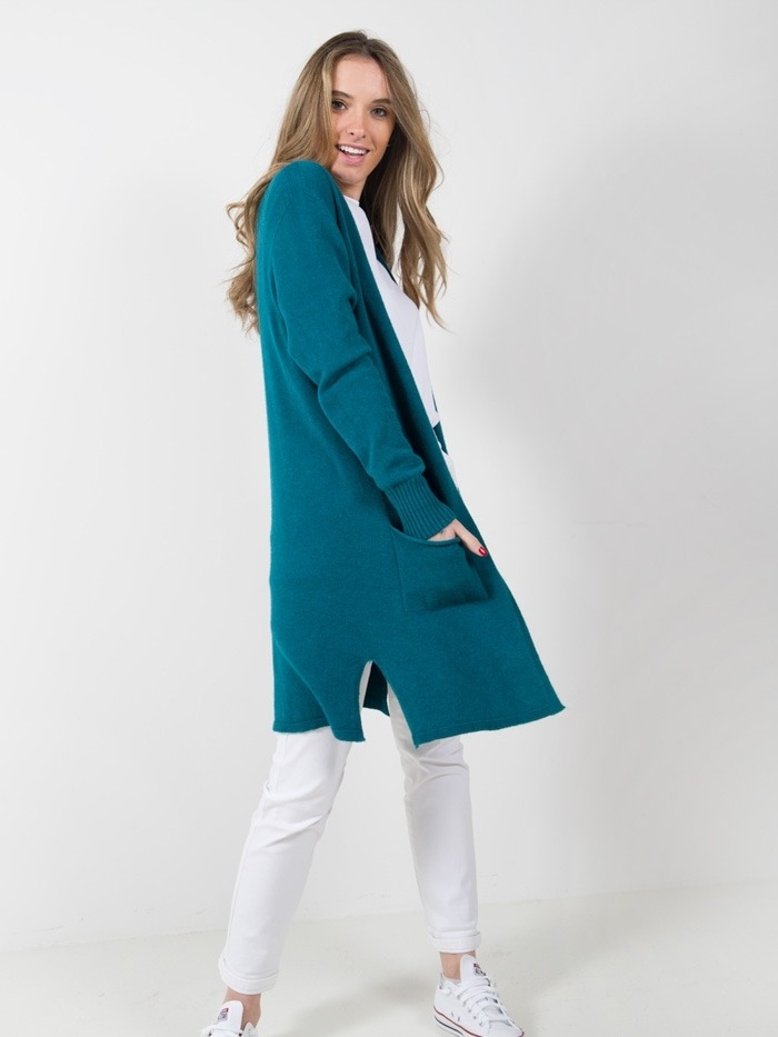 Woman long knitted jacket with pockets Blue