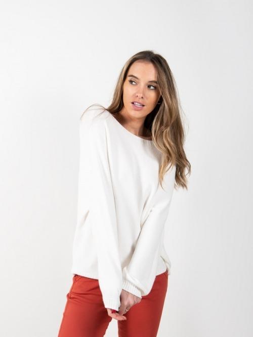 Women short knit sweater White