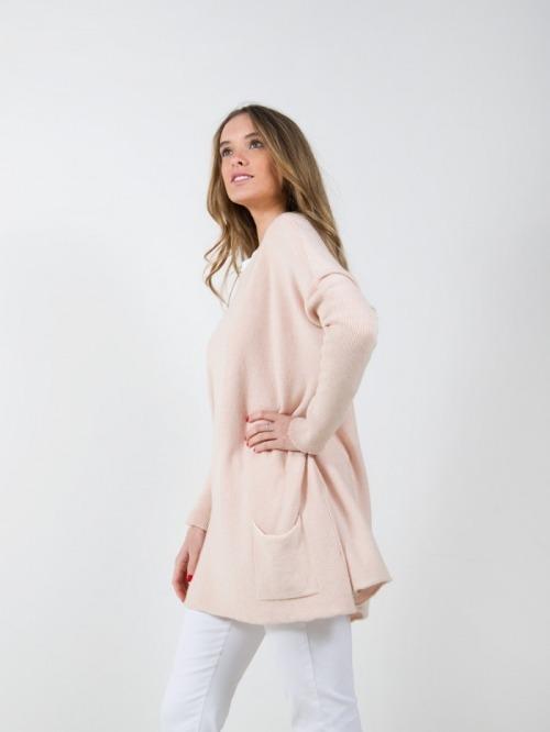 Jersey punto oversize bolsillos mujer