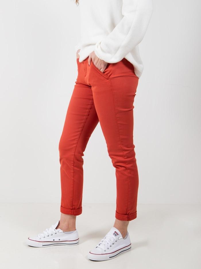 Pantalón chino algodon mujer Teja