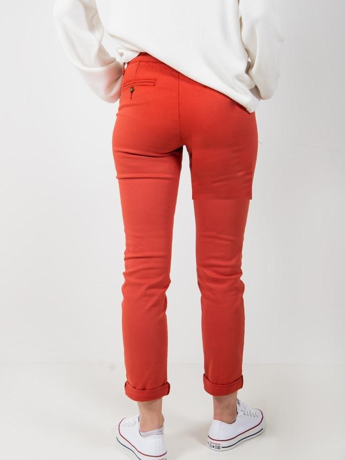 Woman chino cotton trousers Tile