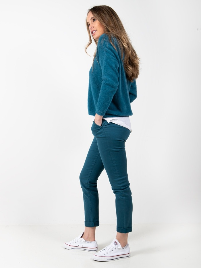 Woman Women chino cotton trousers Turquoise