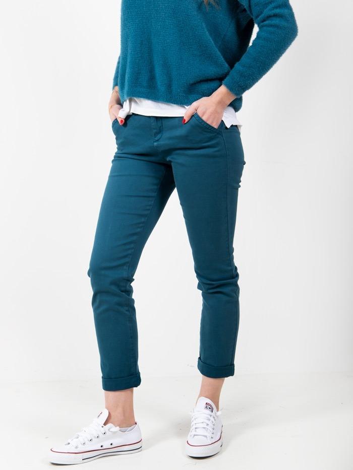 Pantalón chino algodon mujer Turquesa