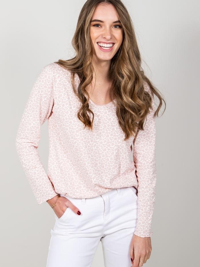 Camiseta algodón animal mujer Rosa
