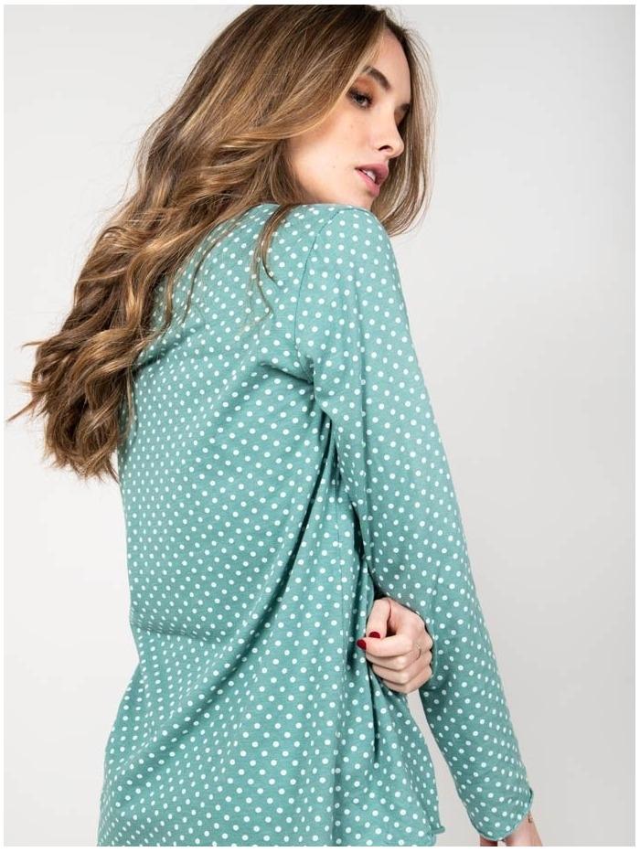 Camiseta algodón lunares mujer Aqua