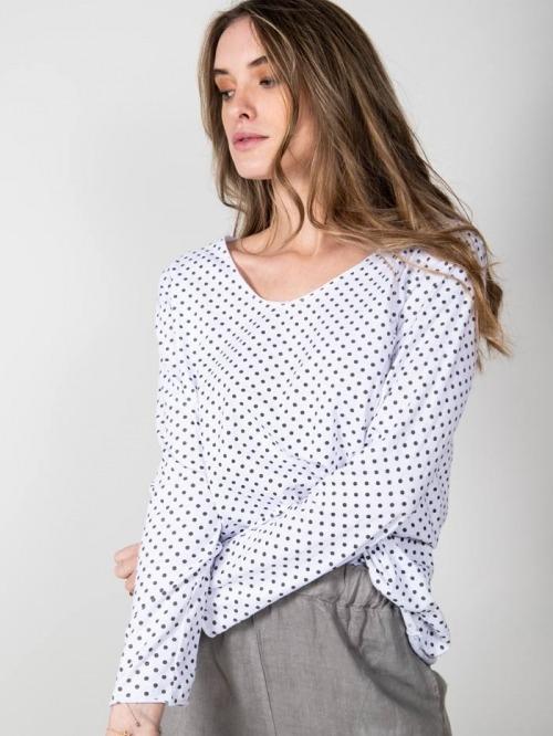 Camiseta algodón lunares mujer Blanco