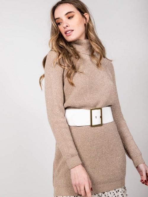 Vestido de punto brillo mujer Camel