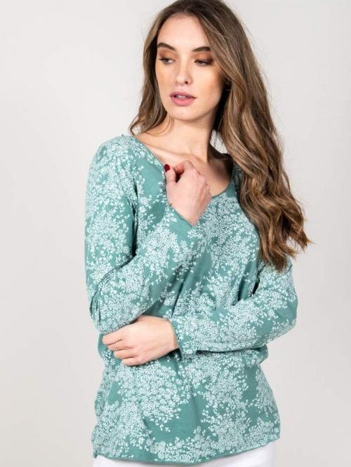 Camiseta algodón florecita mujer Aqua