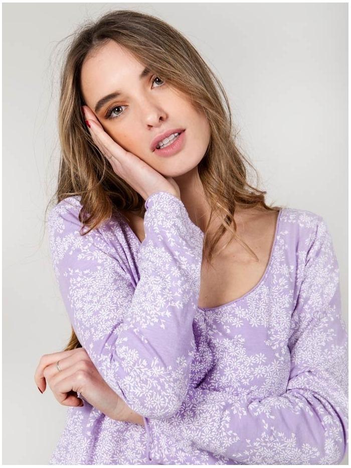 Camiseta algodón florecita mujer Lila