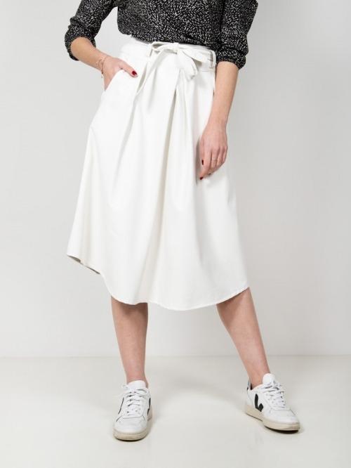 Eco-leather midi skirt White