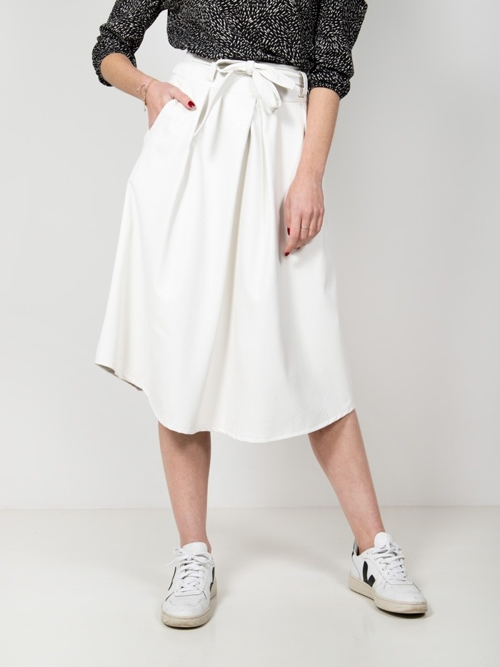 Eco-leather midi skirt White