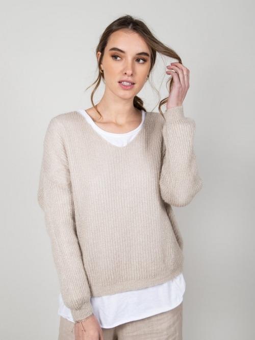 Jersey lana brillo mujer Beige