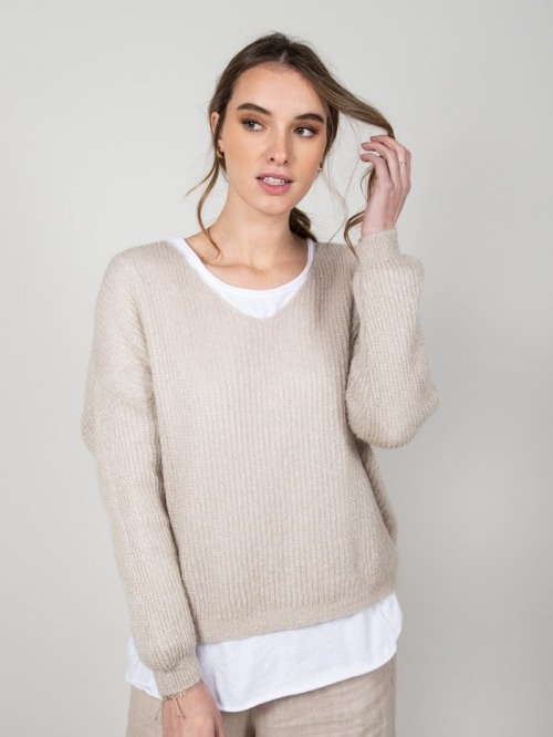 Wool sweater with glitter Beige