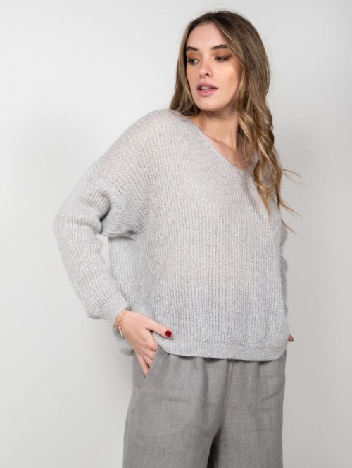 Wool sweater with glitter Grey