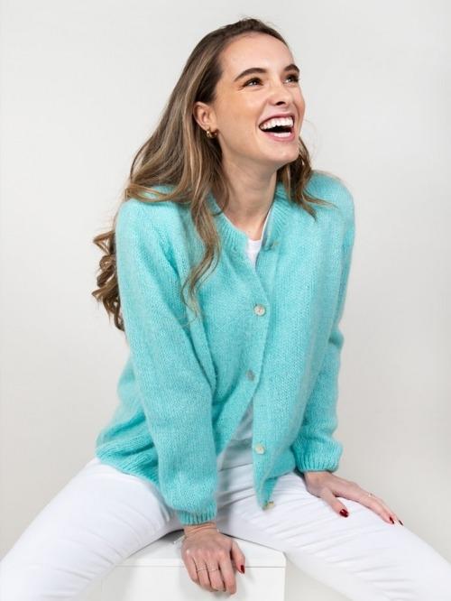 Chaqueta lana cuello redondo mujer Turquesa