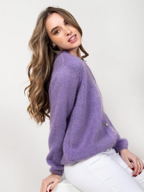 Chaqueta lana cuello redondo mujer Violeta