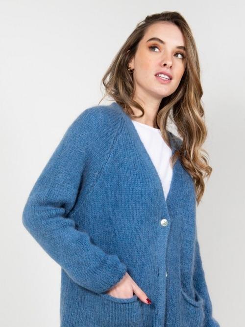 Chaqueta lana con bolsillos mujer Azul