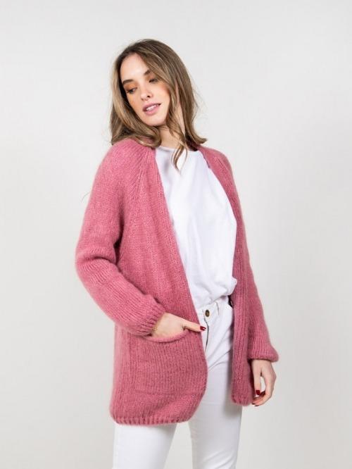 Chaqueta lana con bolsillos mujer Rosa
