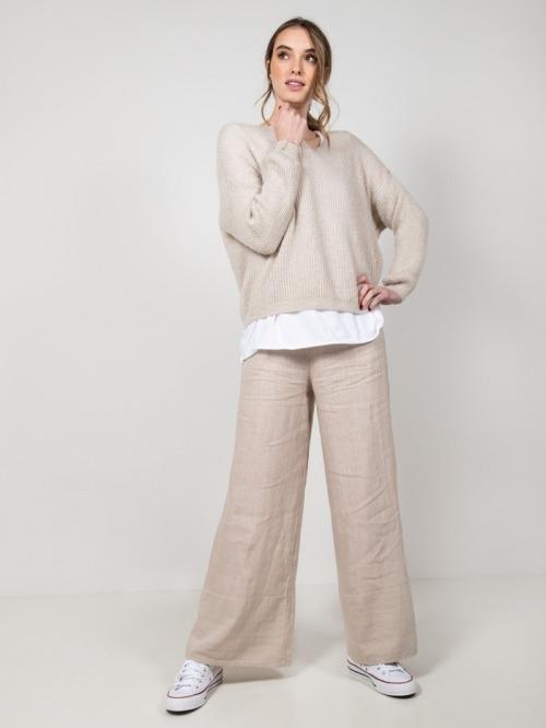 Pantalón lino mujer Beige