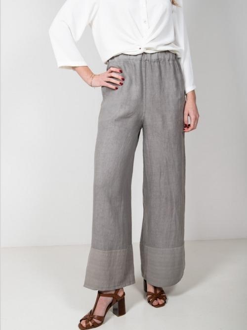 Pantalón lino mujer Gris