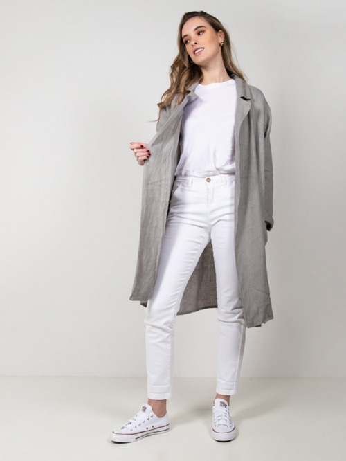 Chaqueta oversize lino mujer Gris