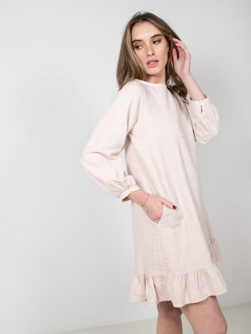 Linen cotton dress with frill Pink