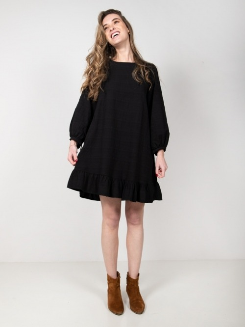Linen cotton dress with frill Black