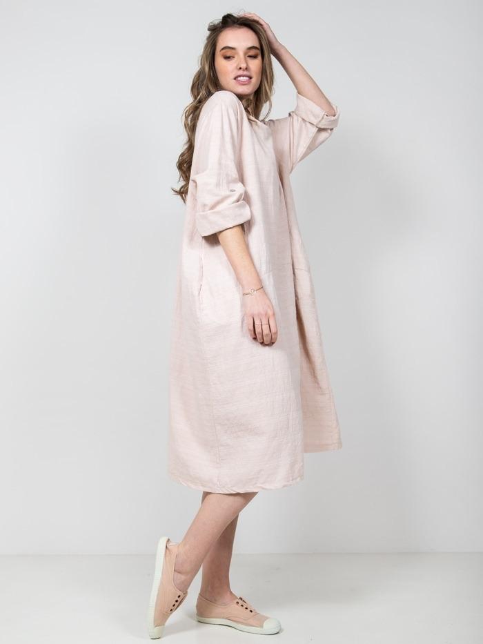 Vestido oversize algodón mujer Rosa