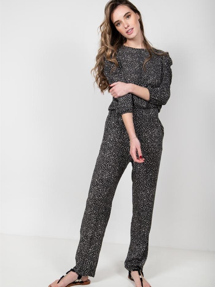 Fluid pants with elastic waist Black