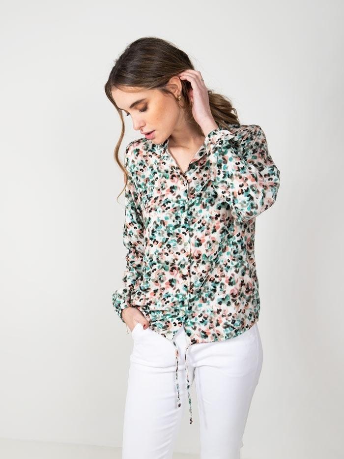 Fluid animal print shirt Green