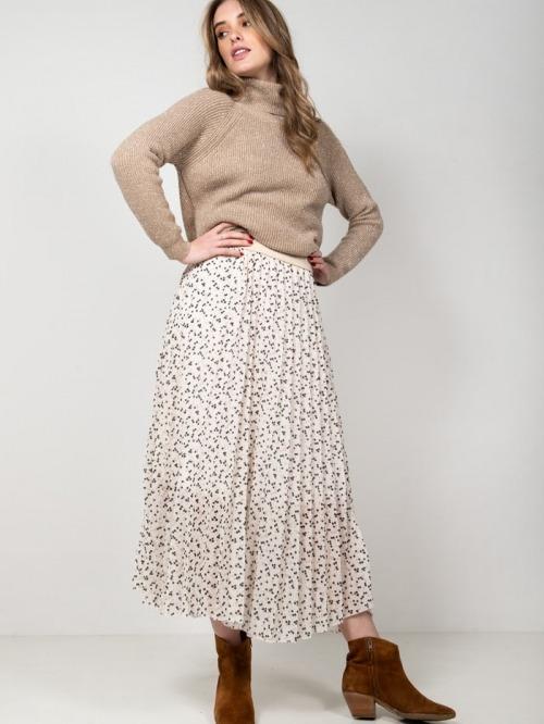 Falda larga plisada estampado lunares mujer