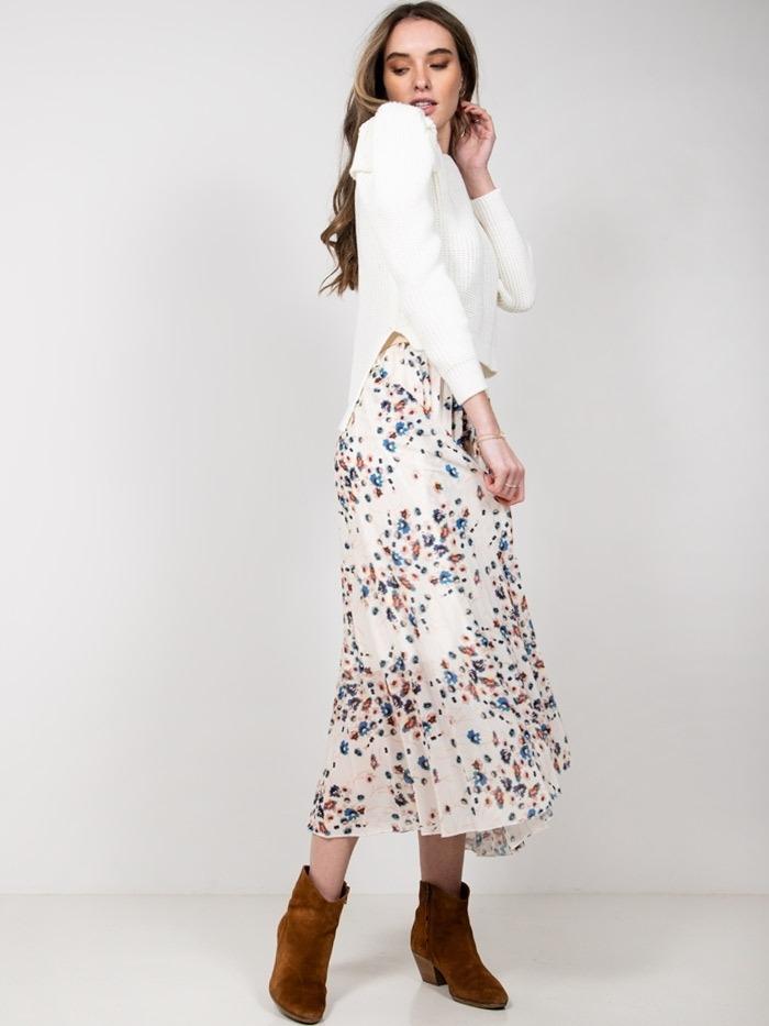 Falda larga plisada flores mujer Crudo
