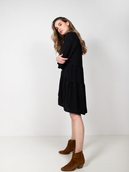 Vestido franjas fruncido Negro