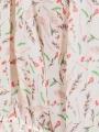 Camisa fluida oversize flores mujer Crudo