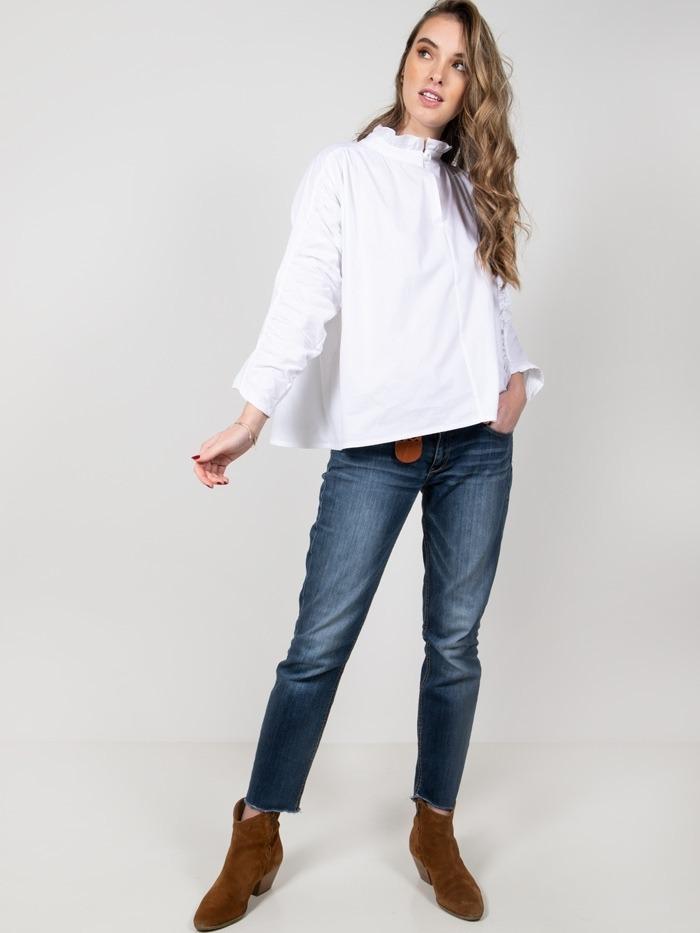 Camisa algodón lisa mujer Blanco