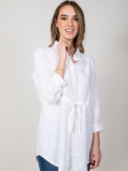 Camisa lino con cinturon mujer Blanco