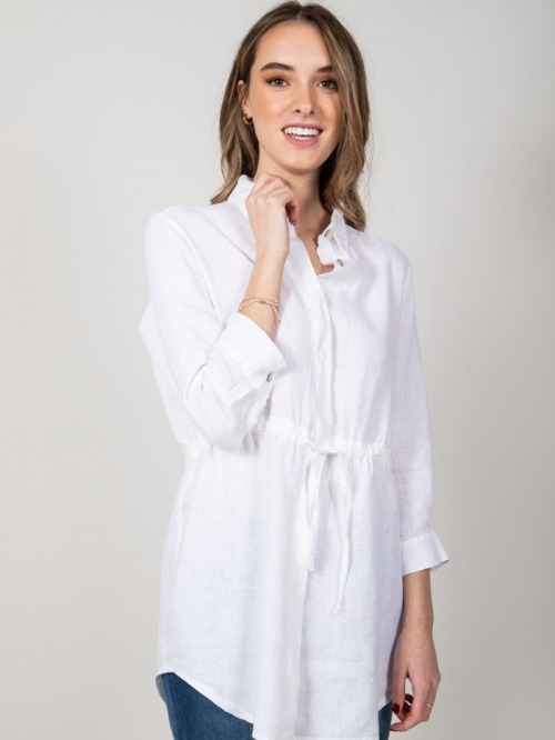 Linen shirt with belt White