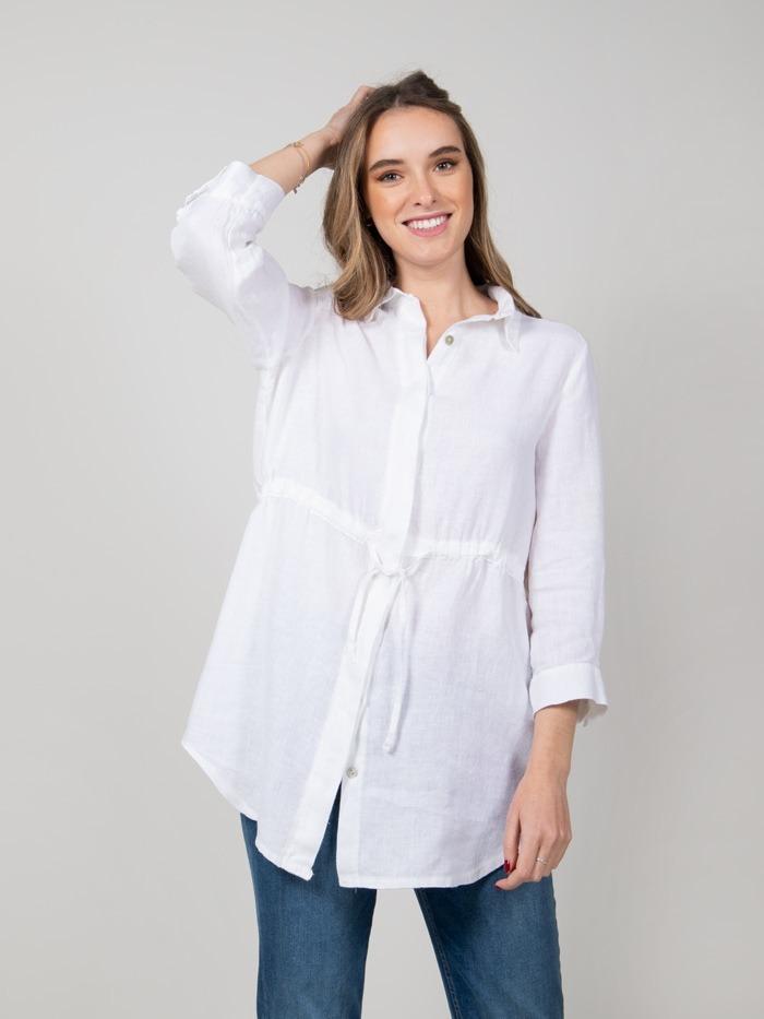 Woman Woman Linen shirt with belt White