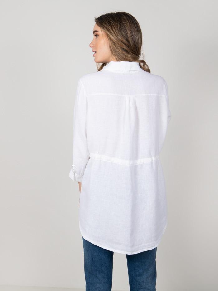 Camisa lino mujer con cinturon Blanco