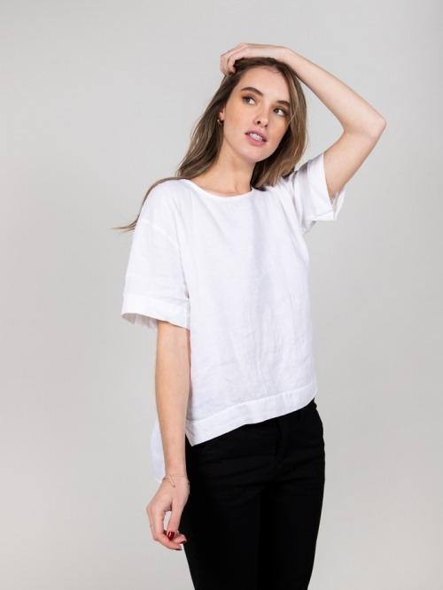 Camisa lino detalle mangas mujer Blanco