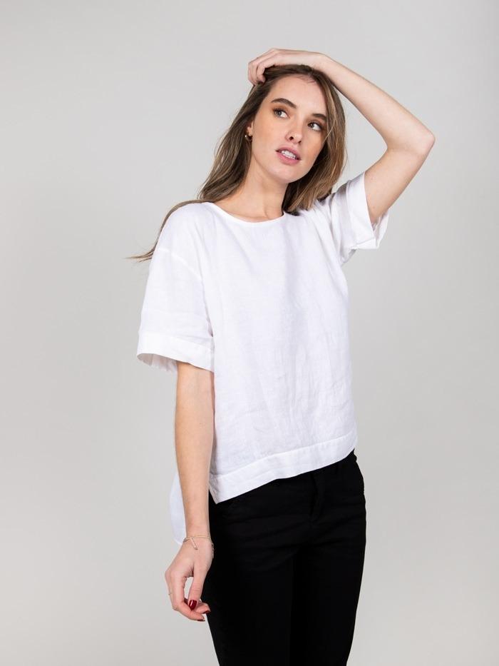 Linen shirt detail sleeves White