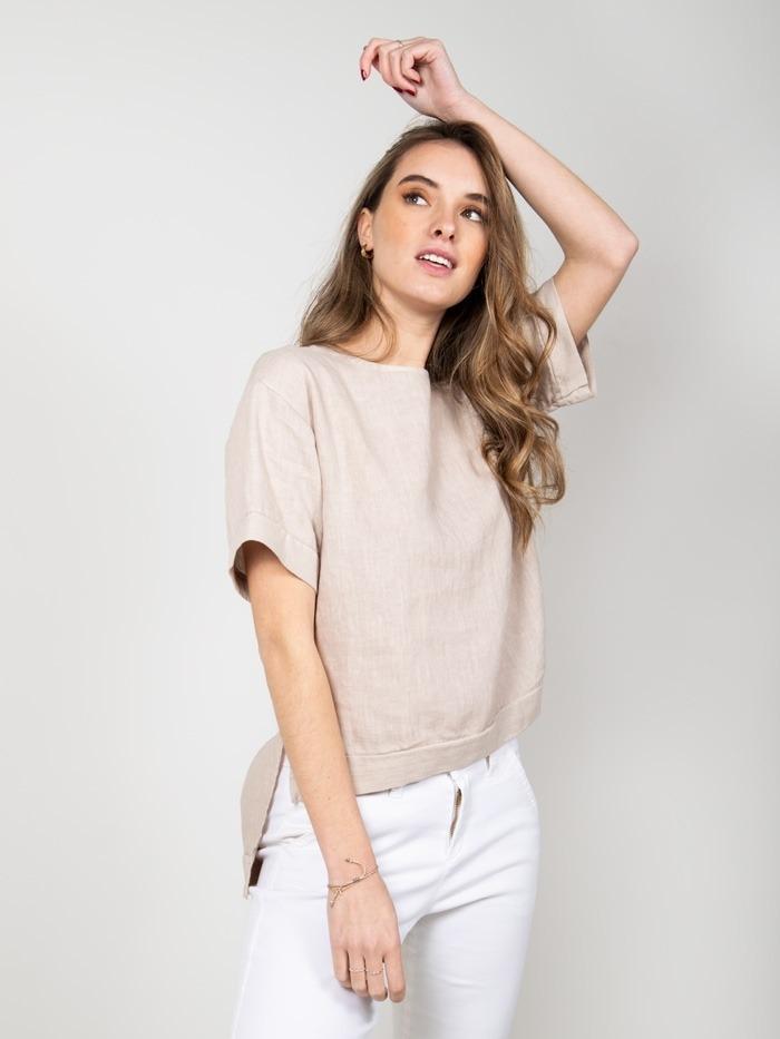 Camisa lino detalle mangas mujer Beige